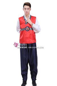 Hanbok Cho Nam Gấm Đỏ Quần Xanh