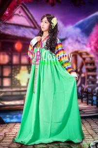 Hanbok Tay Áo Sọc Váy Xanh 26