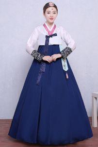 Hanbok Áo Trắng Váy Xanh Có Tua Rua