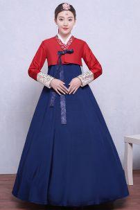 Hanbok Áo Đỏ Váy Xanh Có Đai Ngực 51
