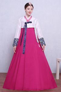 Hanbok Áo Trắng Váy Hồng Có Tuarua 52