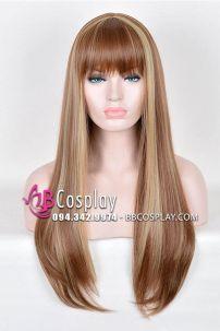 Tóc Giả Nâu Line Vàng Kim 60cm