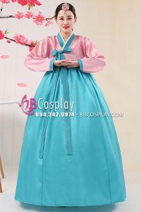 Hanbok Giá Rẻ Áo Hồng Váy Xanh Ngọc