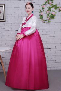 Hanbok Giá Rẻ Áo Trắng Váy Hồng Nơ Hồng