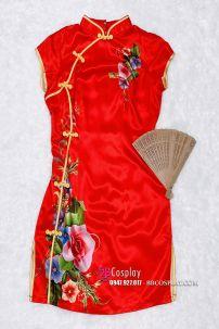Sườn Xám Đỏ Phi Lụa Hoa Size L