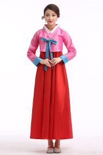 Hanbok Áo Hồng Váy Đỏ Nơ Xanh 9753