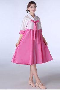 Hanbok Cách Tân Váy Ngắn Áo Trắng Váy Hồng Size S