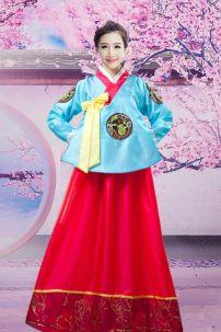 Hanbok Áo Xanh Dài Váy Đỏ