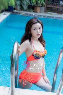 Trang Phục Bơi Bikini Cam Cà Rốt Áo Ngực Độ Vải Cá