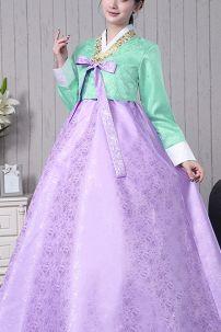 Hanbok Gấm Áo Xanh Ngọc Váy Tím Viền Vàng