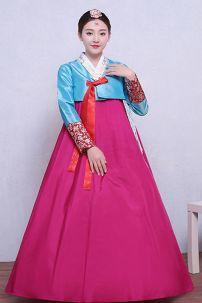 Hanbok Áo Xanh Váy Hồng Có Tuarua 49 9896
